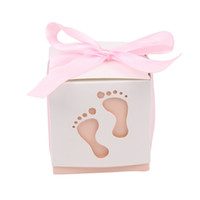 Wholesale Baby Feet Favors - Feet Laser Cut-out Baby Shower Favor Gift Candy Box GIft Boxes For Boy Girl Brithday Party Favors Gift