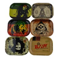"Wholesale roll case - RAW Bob Marley Rolling Tray Metal Tobacco Rolling Tray with 5.5"" x 7"" Handroller Roll Case Tobacco Storage Tray Smoking Accessories"