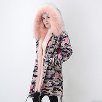 Wholesale Womens Thick Hoodies - Womens Fur Parkas Winter Coat Faux Fur Jackets Camouflage Jacket Warm Thick Outwear Hoodies Snow Outdoor Tops New Fashion