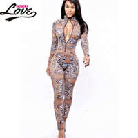 Wholesale Womens Clubwear Jumpsuits - Wholesale- sexy jumpsuit women macacao feminine 2017 clubwear bodycon rompers womens jumpsuit long pants The Thai Tribal Jumpsuit LC6747