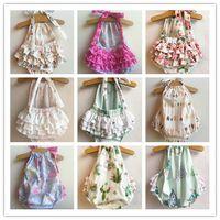 Wholesale arrow flowers - INS Baby Girls Romper 5 style Mermaid Arrow flower cotton Ruffle Newborn Onesies Summer Halter Bow Infant Bodysuit Kids Clothes C001