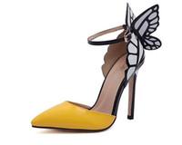 nuevas sandalias de mariposa al por mayor-2019 New Thin High Heels Women Pumps 8 / 11cm, Butterfly Heels Sandals Sexy Wedding Shoes Party amarillo púrpura negro tamaño: US4-US9 SX27