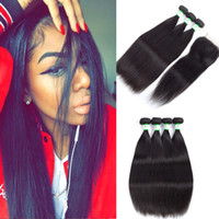 Wholesale Silky Straight Weave Chinese Hair - Free Part, Middle Part, 3 Part Top Lace Closure With 3 4 Bundles Silky Straight 100% Human Hair Brazilian Peruvian Indian Malaysian Hair