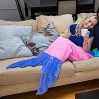 Wholesale Double Kids Sofa - Double Layer Big Kids Mermaid Sleeping Bag Women Size Mermaid Tail Blankets Sofa Bedroom Blankets Camping Travel Blanket 176CM