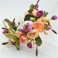 Wholesale Silk Rose Flower For Hair - Women Handmade Rose Flower Wreath Crown Garland Halo for Wedding Festivals Girl Rose Wreath Headpiece Boho Floral Crown