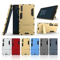 Wholesale Desire X Tpu - For Sony Xperia XZ,X Compact Ironman Hybrid Hard PC+ Soft TPU Case For HTC Desire 10 Lifestyle Pro 2in1 Shockproof Kickstand Dual Layer Skin