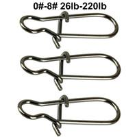 anillos de pesca al por mayor-100pcs Duo Lock Snaps Tamaño 0 # -8 # Negro Niza Snap Swivel Slid Anillos Acero inoxidable EE. UU. Kit de aparejos de pesca - Prueba: 26LB-220LB