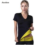 Wholesale Natural Weight Lost - Wholesale- Aselnn Hot Selling Neoprene Body Shapers Sliming T Shirt For Women Waist Corsets Lose Weight Waist Trainer