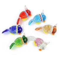 Wholesale Parrot Glass - Parrot Lampwork Arts Animal Glass Pendants For Decoration Bird Big Pendants With Mix Colors 12pcs pack MC0073