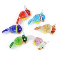 Wholesale Mixed Birds Pendant - Parrot Lampwork Arts Animal Glass Pendants For Decoration Bird Big Pendants With Mix Colors 12pcs pack MC0073