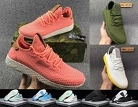 Wholesale summer net shoes - Pharrell Williams Tennis HU II Stan Smith Running Shoes Summer net surface Fashion Running Sneakers for woMen White Green Blue Drop Shiping