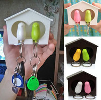 Wholesale Couple Sparrow Key Ring - 1set New Arrival Lover Couple Sparrow Birdhouse Keychain Key Chain Ring Holder, Home Decoration, Lover Gifts