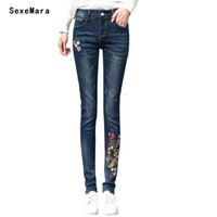 Wholesale Women Embroidery Jeans Wholesale - Wholesale- Women Flower Embroidery Pencil Denim Jeans 2017 Spring Fashion Skinny High Waist Boyfriend Jeans for Women