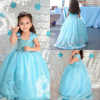 Wholesale Short Wide Wedding Dress - Lovely Flower Girls Dresses Spaghetti With Wide Strapless Girls Pageant Dresses With Embroidery Tiered Custom Made Birthday party Gowns 2017