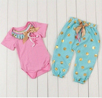 Wholesale Hot Girl Point - hot sale baby suit pants short sleeved jeans 7 points pants two piece chic baby girl set