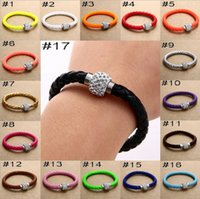 Wholesale Wholesale Leather Bracelet Sets - Hot Sale PU Leather Bracelet Shamballa CZ Disco Crystal Bracelet Fashion Magnetic Clasp Bracelet Wristband Jewelry
