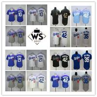 Wholesale Los Dodgers - 2017 World Series patch Los Angeles Dodgers #35 Cody Bellinger 10 Justin Turner 21 Yu Darvish 1955 #42 Jackie Robinson M&N Baseball Jerseys