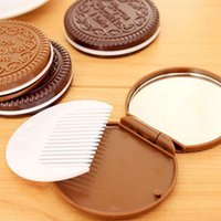 Wholesale Chocolate Comb - Mini Pocket Chocolate Cookie Biscuits Compact Mirror With Comb Portable Chocolate Biscuit Shape Tool Office Brown