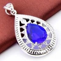 Wholesale Topaz Pendants Wholesale - 3PCS LOT drop dark Blue Topaz Gemstone 925 Sterling Silver Pendant Wedding Pendants Russia USA Pendants for Necklaces