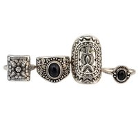 Wholesale Halloween Knuckle Rings - 4 Pcs  set Vintage Retro Turkish Gypsy Style Gold Silver Plated Alloy Inlay Resin Beads Midi Knuckle Finger Ring For Women Jewelry