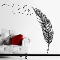 melhor arte de parede para quarto venda por atacado-Criativo 2015 Adesivo de Parede de Vinil Pássaros Voando Pena Quarto Casa Decalque Mural Art Decor Adesivos de Parede melhor decoração