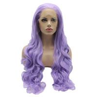 Wholesale Wig Light Purple - New Arrive Light Purple Color Wavy Synthetic Lace Front Wigs Stylish Heavy Density Heat Resistant Kanekalon Women Wigs