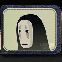 Wholesale Note Case Face - No face man wallet Spirited away cartoon purse Anime short cash note case Money notecase Leather burse bag Card holders