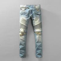 bp jeans großhandel-Großhandel-NWT BP Herrenmode Runway Distressed Slim Stretch  Biker gewaschen Jeans 49826b473c