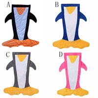 Wholesale Blanket Felt - DHL Kids penguin Sleeping Bags Winter Warm Blanket cartoon Shark Sleeping Bag good quality feel fit for trail 120*96CM C1249