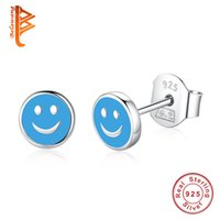 Wholesale Cute Pink Stud Earrings - BELAWANG 925 Sterling Silver Earrings Cute Blue&Yellow&Pink Smile Face Stud Earrings for Women Lover Fashion Earring Jewelry Birthday Gift