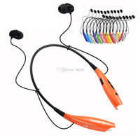 Wholesale Neck Headphones - HB800 HB 800 Headphone Bluetooth Earphone Wireless Stereo Headset Sport Neckband black neck strap in-ear OPP Package Without LOGO 20 Pieces