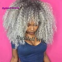 Wholesale lace front grey wig - Gorgeous Afro Fluffy Kinky Curly Hairstyle Wig with Bangs Synthetic Black Root Ombre Grey Hair Lace Front Wigs for Black Women
