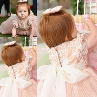 Wholesale Vintage Dress Infant - Cute Vintage Flower Girl Dresses Short Sleeve Big Bow Lace Beaded Crew 2017 Custom Made Baby Infant Toddler Party First Holy Communion Dress
