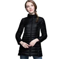 Wholesale Light Pink Women S Coat - 2017 Winter Light Down Jackets Women Warm Solid Color Chic Parkas Hooded Coats Outerwear Casual Plus Size Fitness Down Jackets