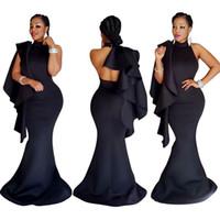 Wholesale Elegant Strapless Maxi Dresses - Elegant Party Dresses black Off Shoulder Strapless Formal Wedding Maxi Long Mermaid Dress 2017 Women Summer Dress