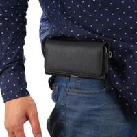 Wholesale Horizontal Leather Case Clip Belt - Mens Multifunctional Horizontal Leather Belt Clip Case Purse Pouch with Card Pocket for iphone 7 8 Plus 6 6s Plus 5s S7 S7 Edge