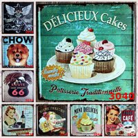 Wholesale Mini Motorcycles Red - Mini Delices Cakes 30X30 CM Metal Tin Sign Pause Cafe Dog License Plate Tin Posters Red Wine Motorcycle Iron Paintings Antique 9 99rjK