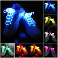 glow-schuh-strings großhandel-30 stücke (15 pairs) Wasserdichte Leuchten LED Schnürsenkel Fashion Flash Disco Party Leuchtende Nacht Sport Schnürsenkel Saiten Multicolors Leuchtend
