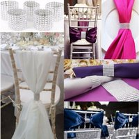 Wholesale Sashes Rings - Silvery Napkin Ring Diamond Mesh Wrap 8 Rows Rhinestone Napkin Ring Party Chair Sash Decor OOA2450