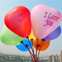 Wholesale Heart Latex Balloon Wholesale - 10 inch I LOVE YOU Pearl Latex thin Balloons Heart Globos ballons For Christmas Wedding Decorations Fast Shipping 10B013