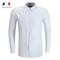 Wholesale Asian Dress Xl - Wholesale- Langmeng 2016 Spring Autumn Mens Dress Shirts Slim Fit Business Formal Shirt Long Sleeve Mens White Chemise Homme Asian Size