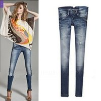 Wholesale Hanging Jeans - Wholesale- Fashion New Style Ripped Hanging Chain Blue Skinny Low Waist Jeans for Ladies Women
