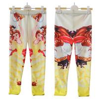 Wholesale Beauty Girls Leggings - Cartoon Beauty and the Beast Belle Princess 3D Prints Running Elastic Skinny Pants for Girl Kids Children