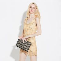 Wholesale High End Mini Dresses - Sexy Party Dress Sequined Sleeveless Package Hip Skirt Trade High-end Fashion Temperament Cultivate One's Morality Short Evening Dress