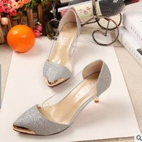 Stiletto Heel black cellophane - spring of European fashion sexy shoes for women s shoes Cellophane tape metal head pointed shoes high heels