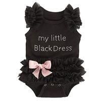 ingrosso ragazze vestito nero tutu-Neonate Neonate Tende Pizzo ricamato My Little Black Dress Letters Infant Baby Body tuta