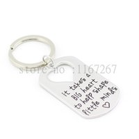 """Wholesale Teacher Gifts Wholesales - Wholesale-2015 Teacher's Jewelry Teacher Gifts """" It Takes a BIG Heart to Help Shape Little Minds"""" Silver Pendant Necklace Dog Tag Keychain"""