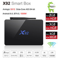 Wholesale dual core box - 3GB 32GB X92 Amlogic S912 Octa-Core 64bit Android 7.1 TV BOX 2.4 5.8G Dual Wifi HDMI 4K H.265 BT4.0 Smart Media Player Retail Package