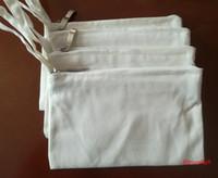 ingrosso casse bianche del telefono bianco-Due strati di cotone bianco tela cosmetica borse fai da te donne in bianco pianura zipper sacchetto di trucco del telefono pochette maniglia organizzatore casi sacchetto della matita