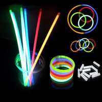 Wholesale Multi Color Glow Stick Party - 20CM Glow Stick Multi Color Bracelet Necklaces Neon Party Light Stick Wand Novelty Toy Vocal Concert Sticks